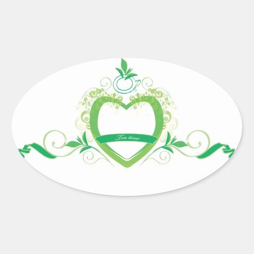 Green tea oval stickers