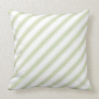 Green Tea & White Diagonal Stripes Throw Pillow