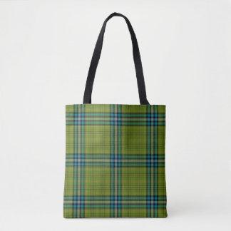 Green Teal Blue Tartan Plaid Tote Bag