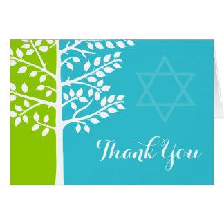 Green Teal Blue Tree of Life Bat Mitzvah Thank You Card