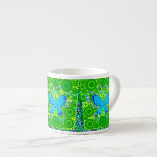 Green Teal Butterfly Concentric Circles Mosaic