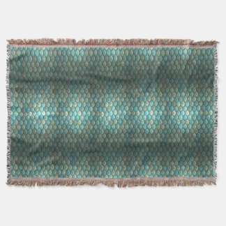 Green Teal Fish Scales Mermaid Blanket