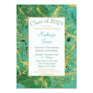 Green Teal Gold Abstract Graduation Invitation