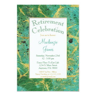 Green Teal Gold Abstract Retirement Invitation