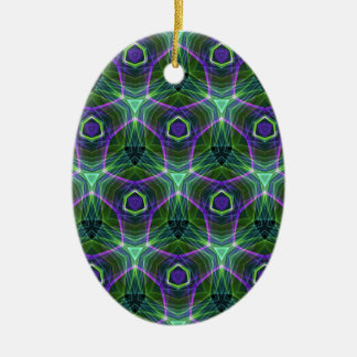 Green Teal Lavender Geometric Seamless Pattern Ceramic Oval Ornament