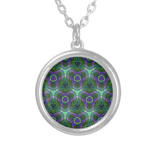 Green Teal Lavender Geometric Seamless Pattern Silver Plated Necklace
