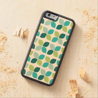 Green Teal Modern Floral Pattern Carved Maple iPhone 6 Bumper Case