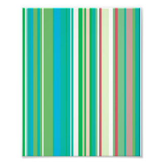 Green Teal Stripes Pattern Photographic Print