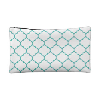 green,teal,white,morrocan,quatrefoil,pattern,trend cosmetic bags