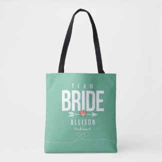 Green TEAM BRIDE Bridesmaid Wedding Tote