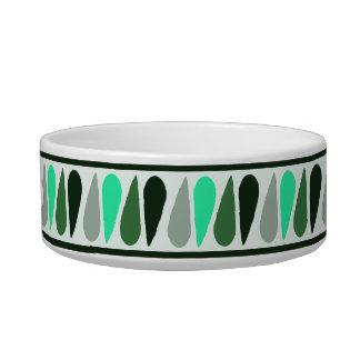 Green Teardrop Personalized Ceramic Dog Bowl