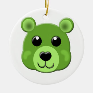 green teddy bear face ceramic ornament