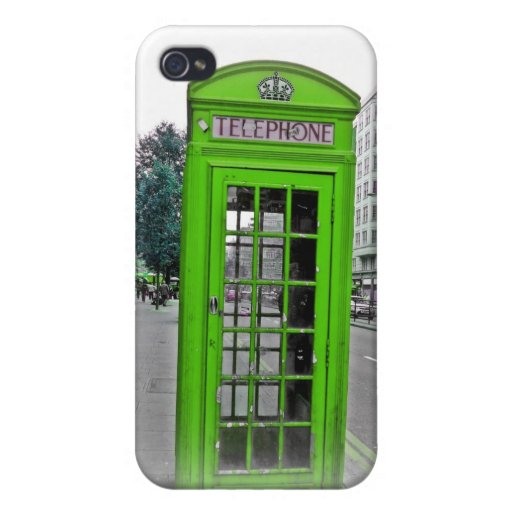 Green Telephone booth iPhone 4 Covers