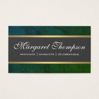 Green Texture Pattern Gold Trim Business Card