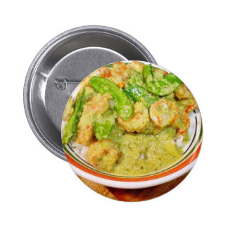 Green Thai Chili Cooking Food Shrimp Pinback Buttons