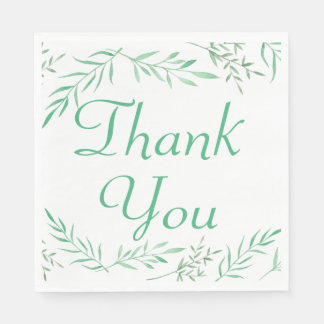Green Thank You Laurel Leaf Wedding Party Disposable Napkins