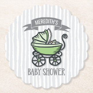Green-Themed Baby Shower Paper Coaster