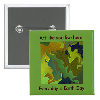 Green Thinking. Act like you live here. Slogan Pin