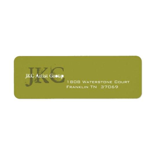 Green Three Initial Business Return Address Label