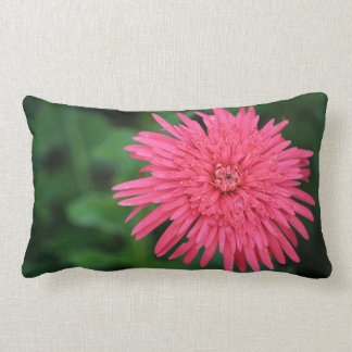 Green Throw Pillow with a gorgeous pink flower