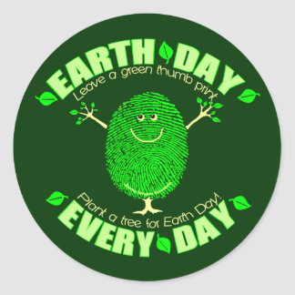 Green Thumb Print Environment  Earth Day Sticker
