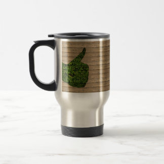 GREEN THUMB WOODEN BROWN BACKGROUND WALLPAPERS CAU TRAVEL MUG