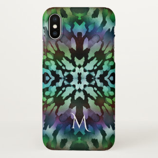 Green Tie-Dye Grunnge Monogram iPhone X Case