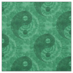 Green Tie Dye Yin Yang Symbol Fabric