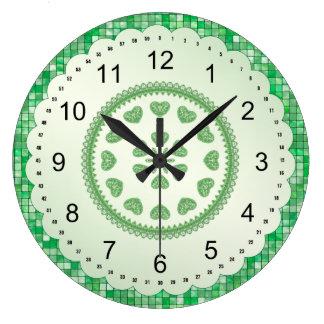 Green Tile Hearts Circular Geometric Pattern Large Clock