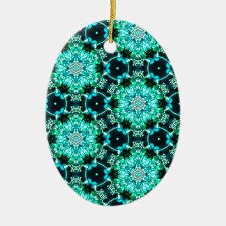 Green Tilly Lace Ceramic Oval Ornament
