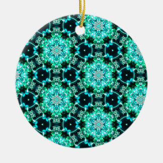 Green Tilly Lace Round Ceramic Ornament