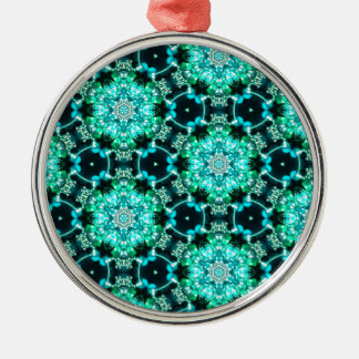 Green Tilly Lace Silver-Colored Round Ornament