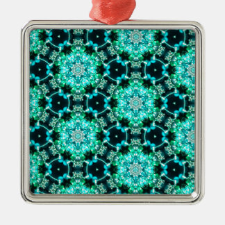 Green Tilly Lace Silver-Colored Square Ornament