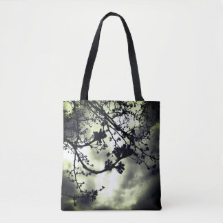 green tint branches tote bag