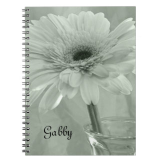 Green Tinted Daisy Flower Notebook