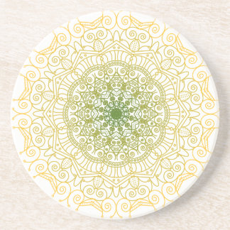 Green to Gold Mandala Coaster