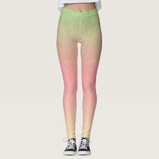Green to Pink to Peach Multicolored Leggings