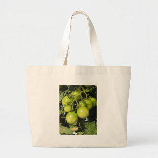 Green tomatoes hanging on the plant in the garden large tote bag