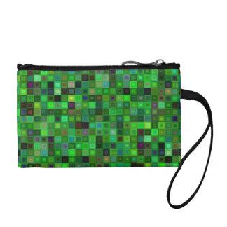 Green tone squares change purse