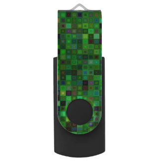 Green tone squares swivel USB 3.0 flash drive
