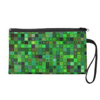 Green tone squares wristlet purses
