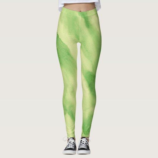 Green Tone Watercolor Leggings