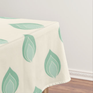 Green Tones Abstract Flowers Tablecloth
