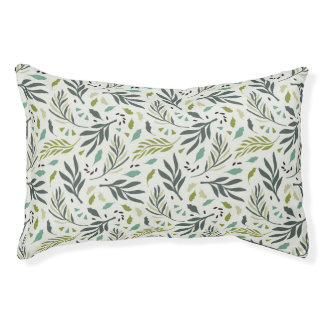 Green tones tropical leafs pattern pet bed