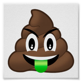 Green Tongue Crazy Poop Emoji Poster