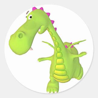 green toon dragon round sticker