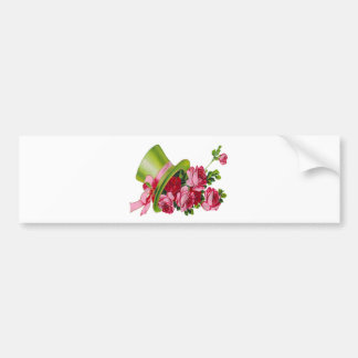 Green Top hat and roses Bumper Sticker