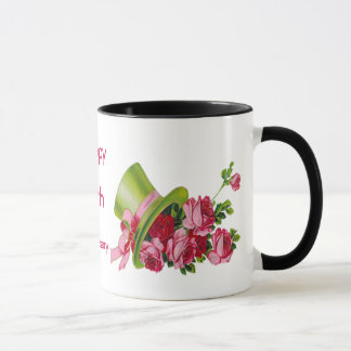 Green top hat and roses, Happy 65th Anniversary Mug