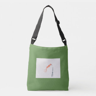 Green tote bag with simple orange abstract bird
