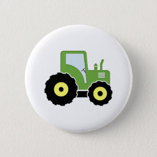 Green toy tractor 2 inch round button